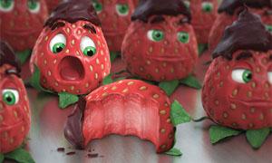 合成超酷的草莓巧克力甜点PS教程素材