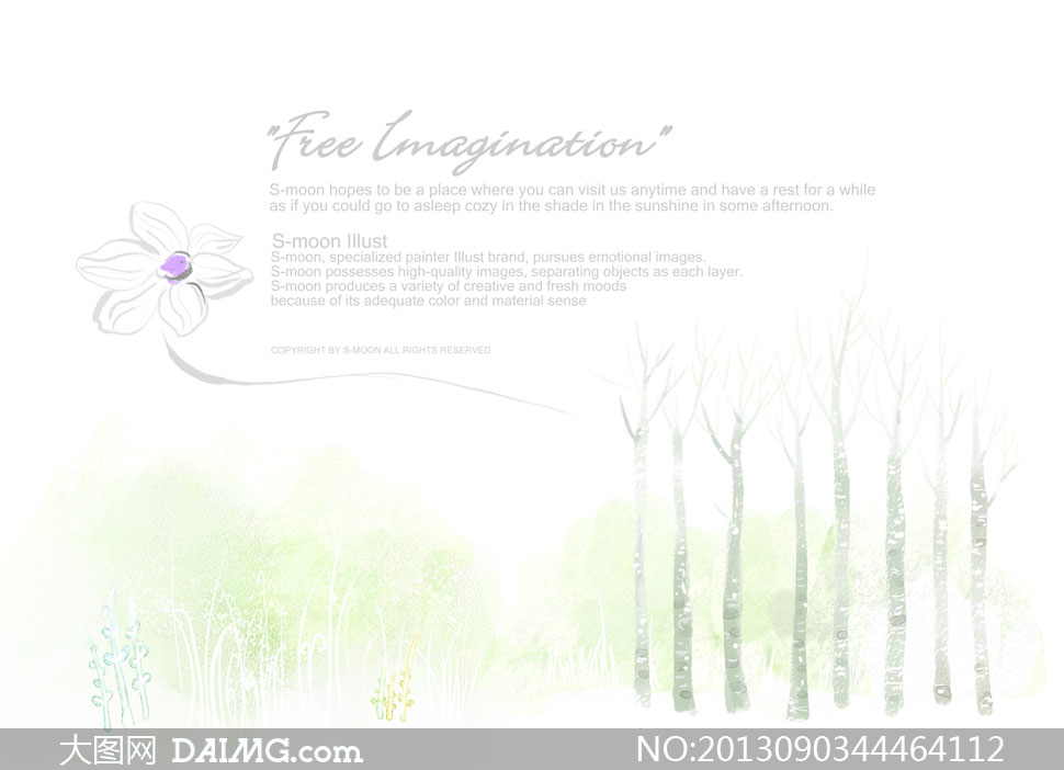 关键词: psd分层素材韩国素材tua水彩画唯美绘画背景花朵素描线描