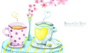 桌子上的插花与茶水杯PSD分层素材