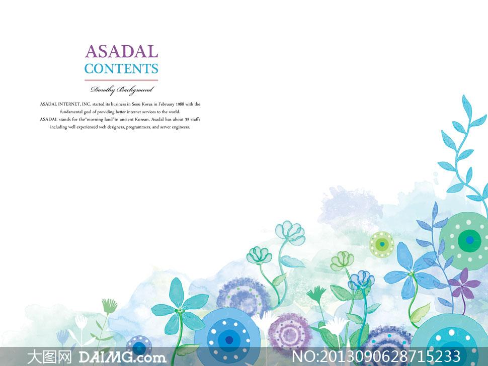用花朵组成的心形边框psd分层素材         叶子花朵水彩边框