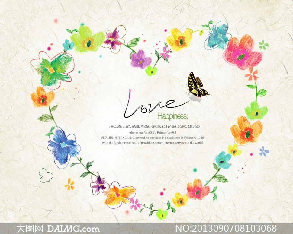 水彩画唯美插画绘画花朵花卉心形边框蝴蝶手绘love