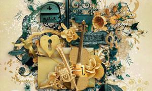 钥匙花朵花纹树叶等欧美剪贴素材