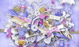 纸花相框丝带心形等欧美剪贴素材