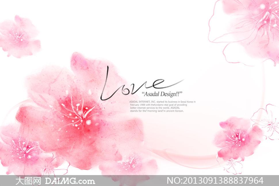 手绘风格粉红色的花朵psd分层素材