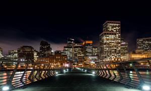 香港高架桥夜景灯光摄影图片素材
