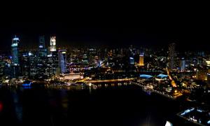 新加坡城市夜景灯光摄影图片