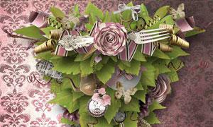 绿叶布花纸花叉子等欧美剪贴素材