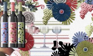 葡萄树叶纸花丝带等欧美剪贴素材