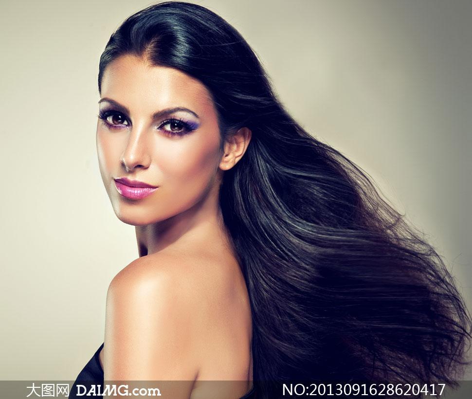 紫色眼妆黑色长发美女摄影高清图片