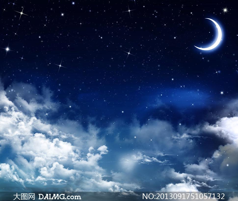 大图-挂在繁星夜空中的月亮摄影高清图片