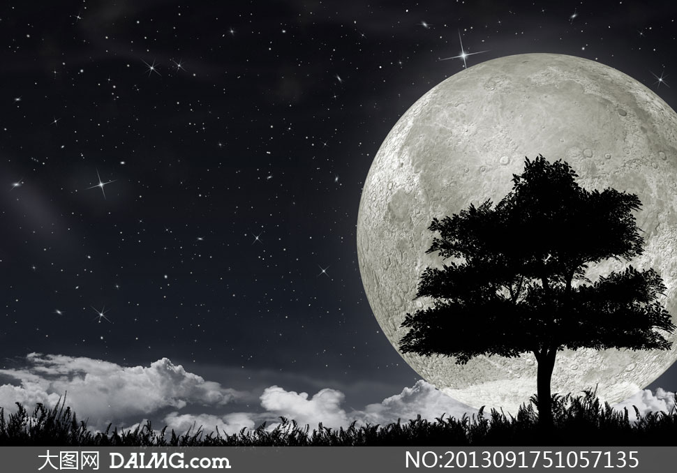 浩瀚星空月亮与树剪影设计高清图