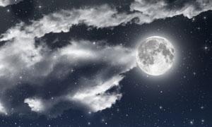 夜空中的繁星月亮云彩摄影高清图片