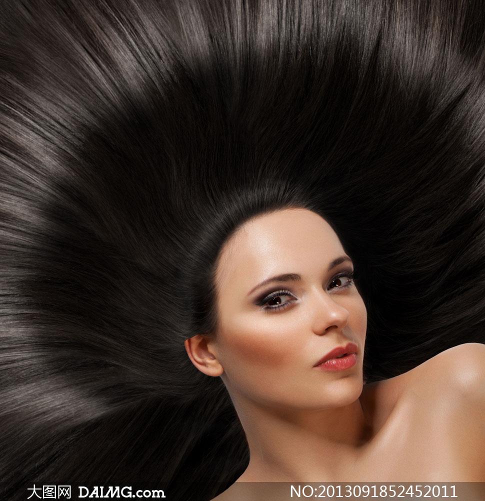 美女模特写真秀发长发化妆妆容美妆眼妆浓妆黑发黑色
