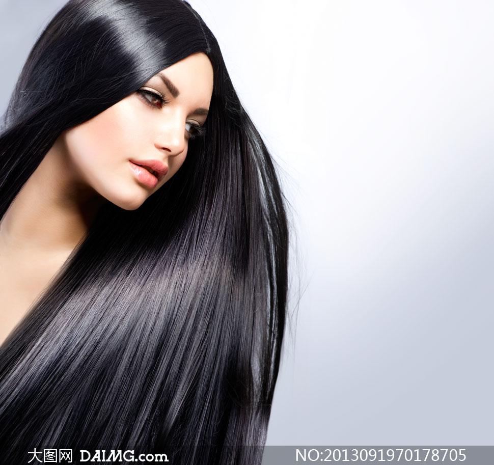 秀发长发美发头发光泽亮泽假睫毛化妆眼妆妆容黑色黑发侧面唇妆黑亮