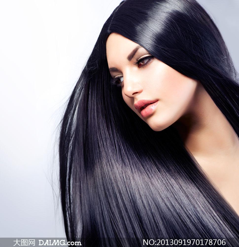 黑亮柔顺披肩长发美女摄影高清图片