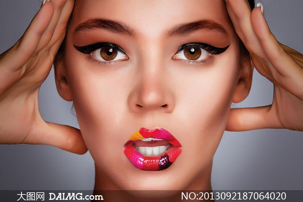 多彩唇妆美女人物特写摄影高清图片 大图网设
