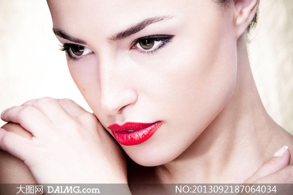 肌肤妆容美女模特特写摄影高清图片