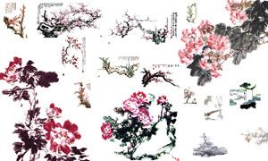 中国风水墨花朵设计PSD源文件
