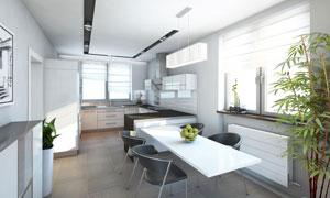 开放式厨房与餐厅内景摄影高清图片