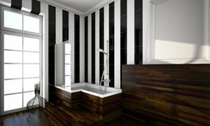房门紧闭的洗浴室内景摄影高清图片