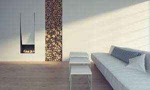 室内沙发茶几壁炉木柴摄影高清图片