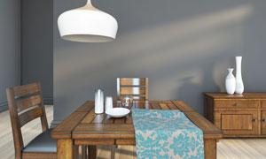 餐厅里的中式桌椅家具摄影高清图片