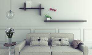 沙发与墙壁上的置物架摄影高清图片