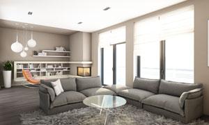 客厅沙发茶几书架布置摄影高清图片