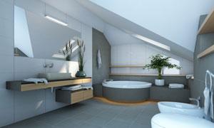 洗手间内的浴缸等家具摄影高清图片