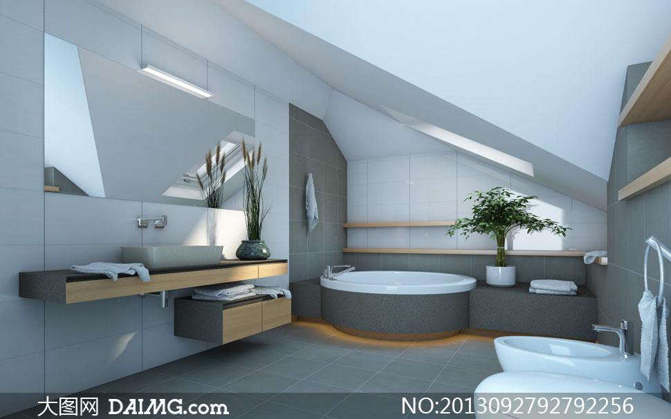 洗手间内的浴缸等家具摄影高清图片 - 大图网设计素材图片