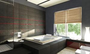 窗户上挂着帘子的浴室摄影高清图片