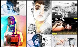 超酷的人像转化彩色手绘效果动作