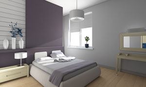 卧室大床吊灯家具摆设摄影高清图片