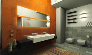 洗手间里内景照明效果摄影高清图片