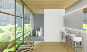 室内洗手池与休息长凳摄影高清图片