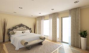 宽敞卧室里的家具布置摄影高清图片