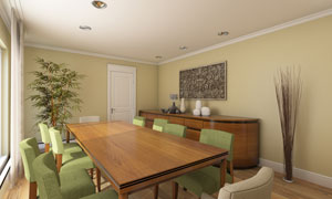 餐厅桌椅与干枝装饰等摄影高清图片