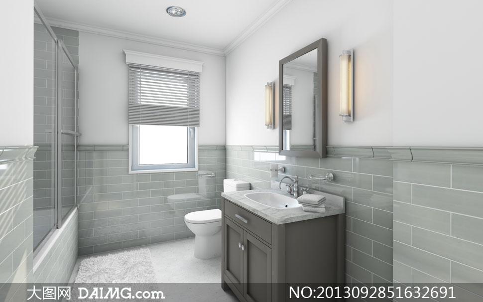 陈列洗手间盥洗室水龙头洗手池毛巾镜子壁灯窗户百叶窗马桶地毯顶灯
