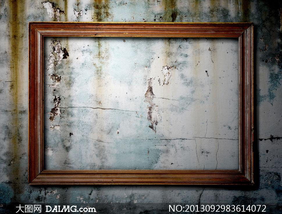 高清摄影大图图片素材墙壁墙面怀旧复古边框相框斑驳墙皮脱落木质