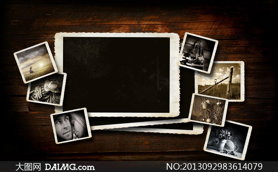 木板墙上的老照片拼贴效果高清图片