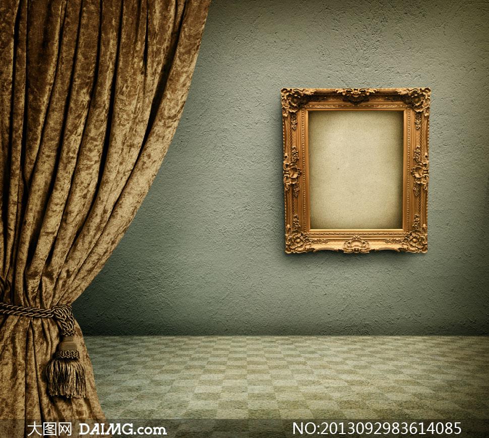 窗帘广告牌设计空白