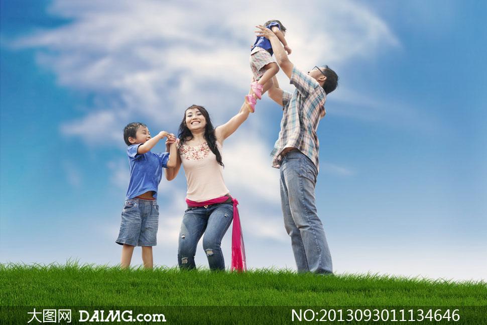 一家人全家人幸福家庭天伦之乐其乐融融男人女人男性