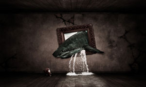 合成冲出相框的鲨鱼和河流PS教程素材