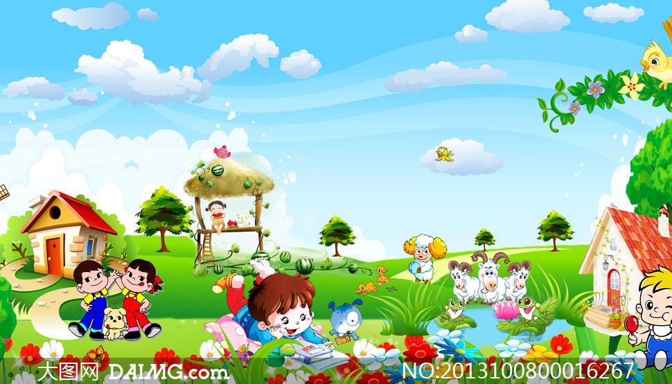 幼儿园卡通背景设计psd源文件