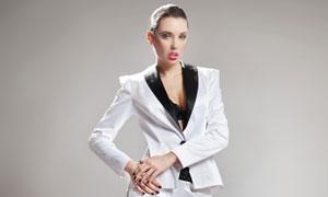 身穿黑领小西装的美女摄影高清图片