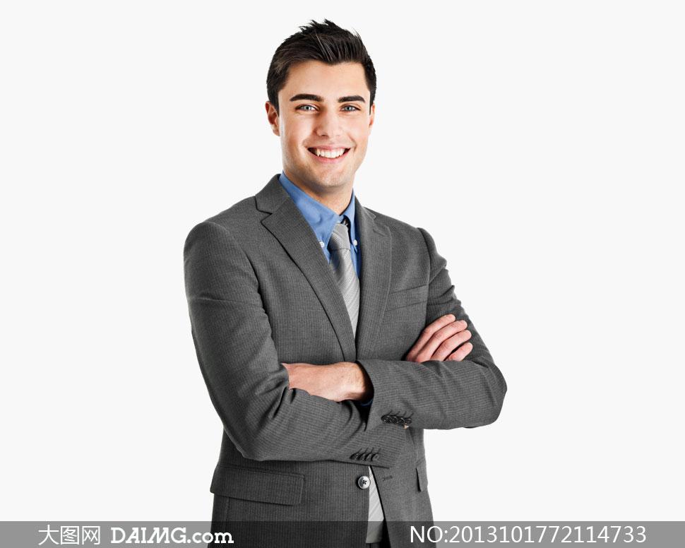 穿深色西装的职场男人摄影高清图片