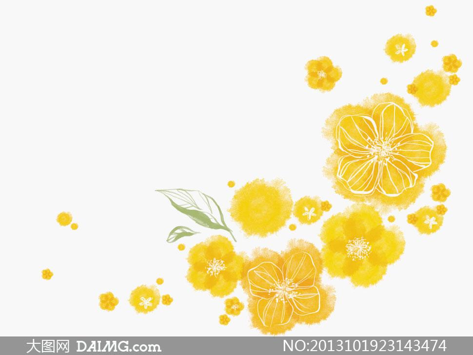 韩国素材tua唯美插画绘画花朵花卉水彩黄色手绘喷溅