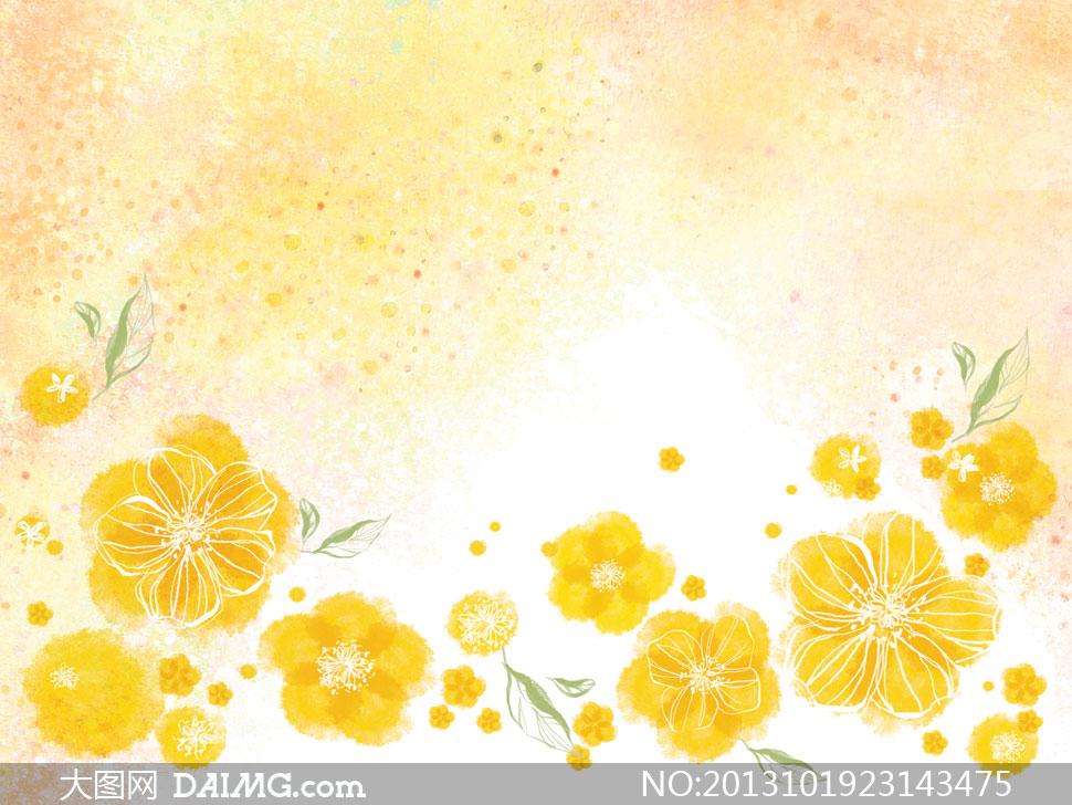 底纹背景与黄颜色花朵psd分层素材