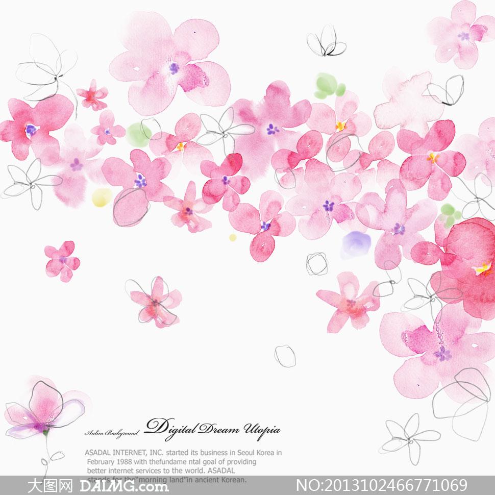 花朵水彩图案设计psd分层素材 大图网设计素材下载