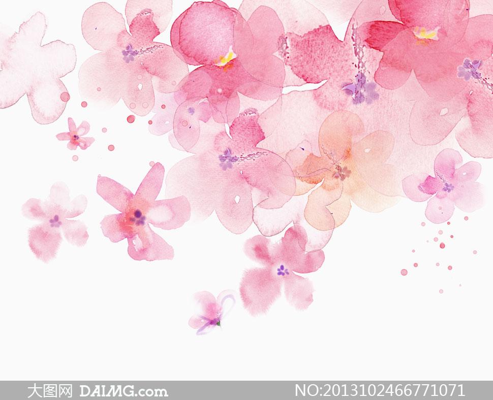 psd分层素材韩国素材tua唯美插画水彩画手绘花朵